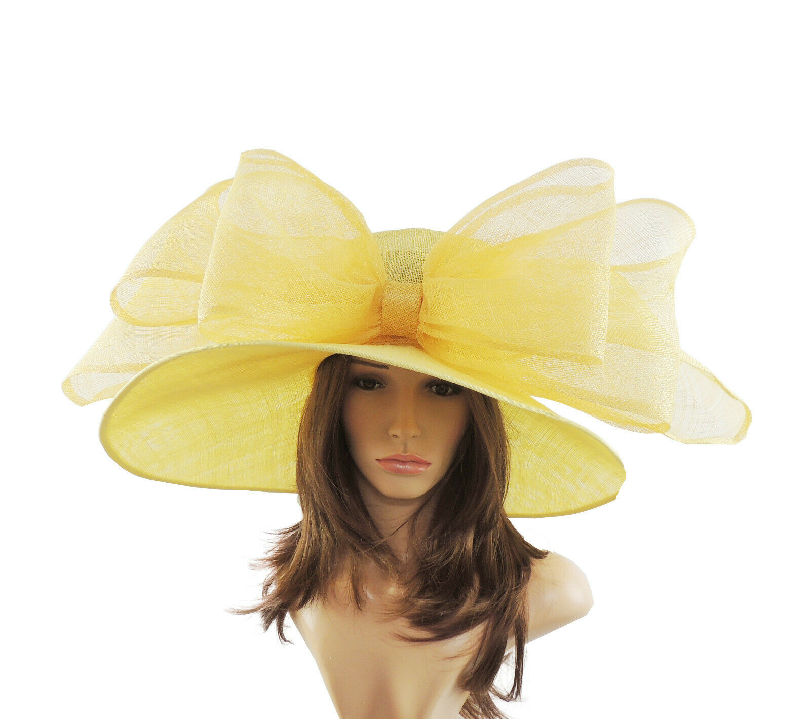 Lemon Yellow Large Ascot Hat for Weddings, Ascot, Derby in many colors HM3