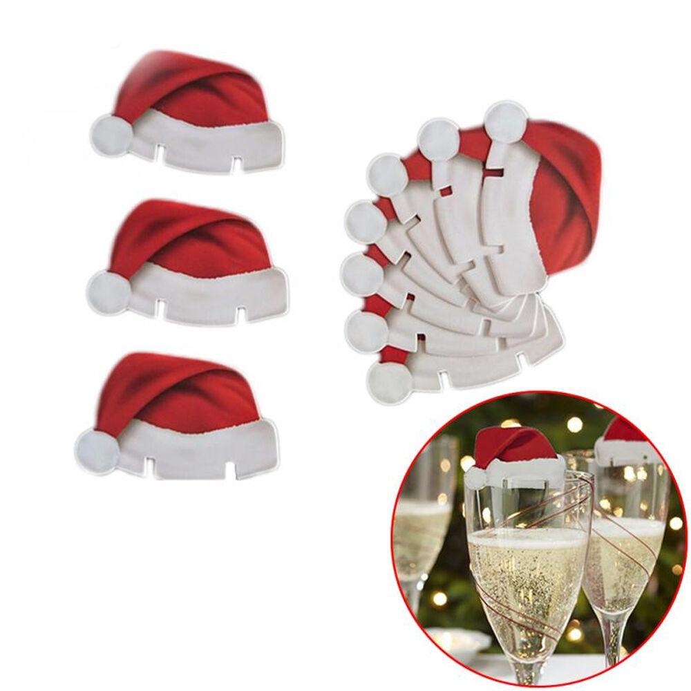 1050100Pcs Christmas Santa Hat Champagne Wine Glass Cup Caps Festival Decor