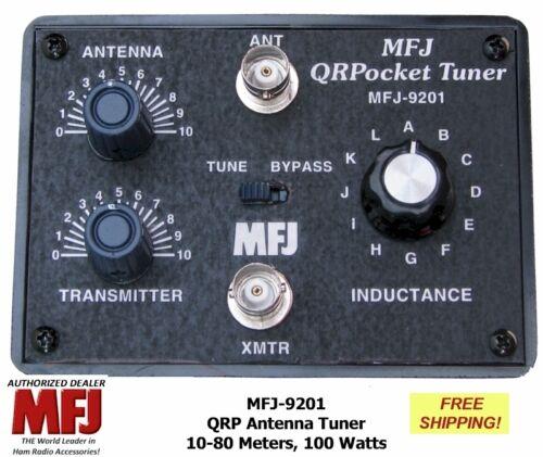 MFJ-9201 QRP Pocket Antenna Tuner 10-80 Meters Handles 100 Watts BNC Connectors