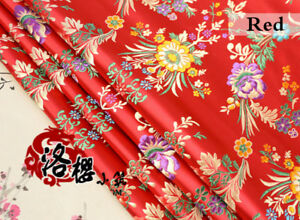 Jacquard-Satin-Faux-Silk-Fabric-Chinese-Begonia-Floral-Brocade-Retro-Costume-Red