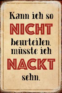 Nackt beurteilen Blechschild Schild gewölbt Metal Tin Sign 20 x 30 cm R0540