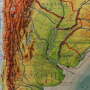 Wandkarte Südamerika Argentinien 171x212 vintage south america roll on