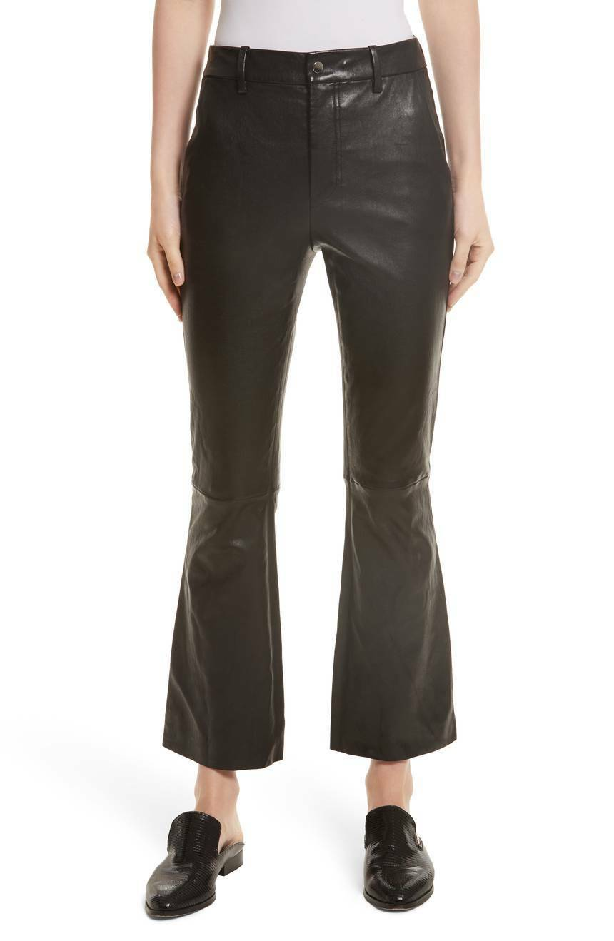Natural Nappa Leather Boot Cut Trouser  Women Fashion Runway Inspired