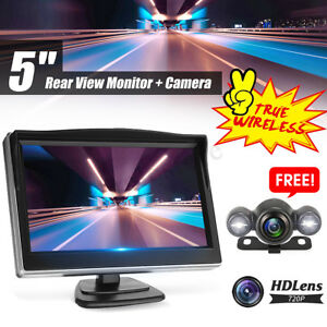 Wireless-5-034-Monitor-Car-Rear-View-System-Back-up-Parking-Camera-Night-View-SET