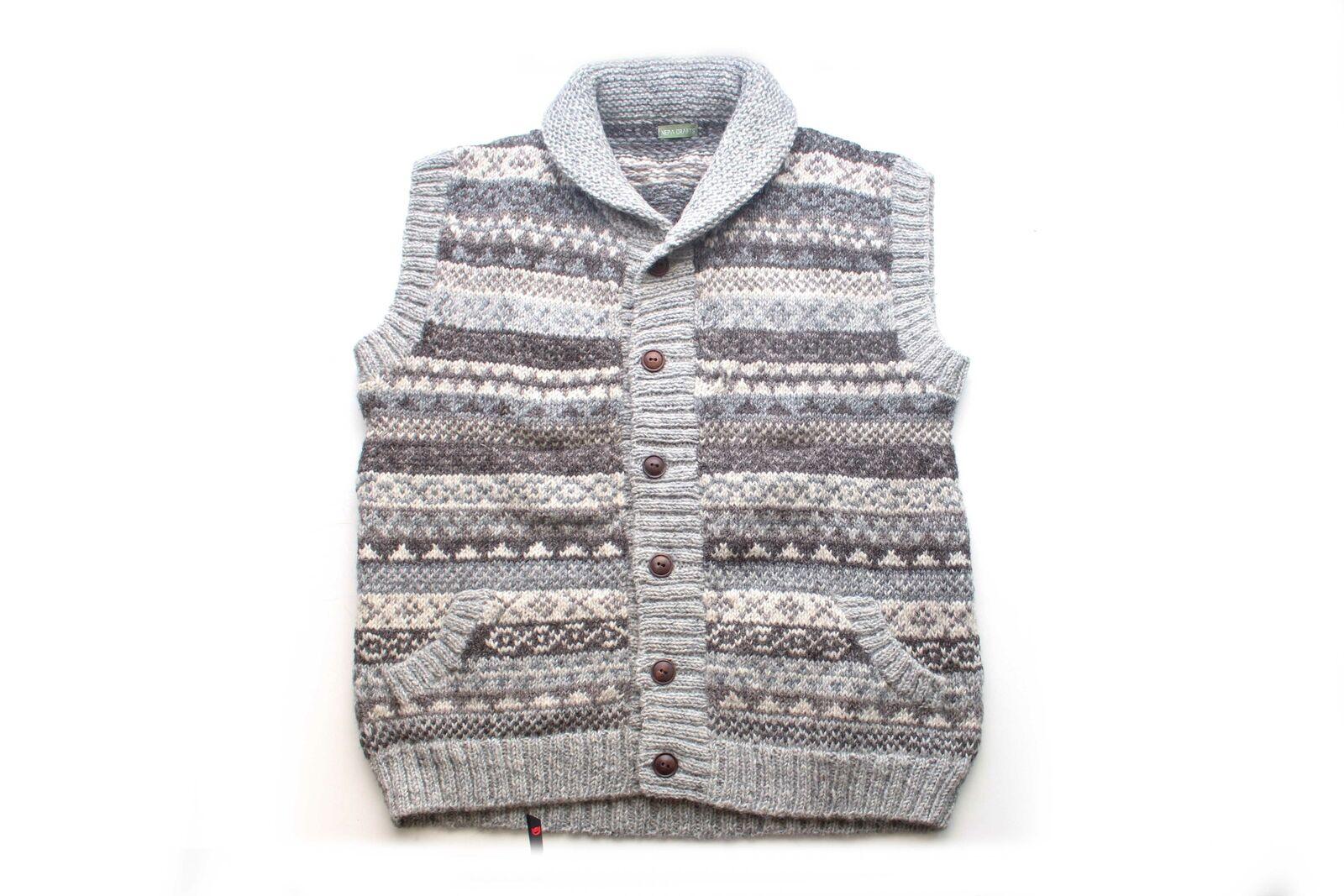 Grey and Brown Multicolor Handknit Woolen Cardigan