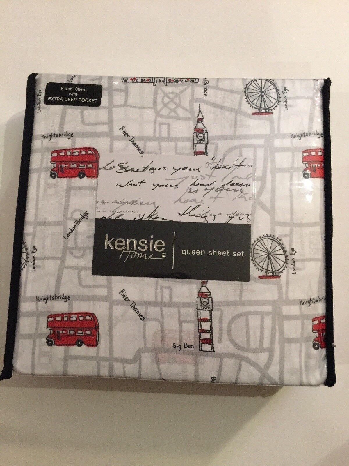 NEW Kensie  London Map Queen Sheet Set  75.00 + Free Shipping