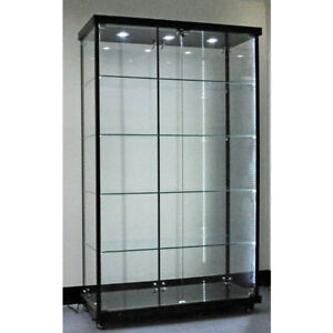 Image Is Loading Titanium Alloy FULL Glass Display Cabinet With LED