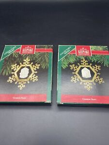 GREATEST STORY SERIES - HALLMARK #1 1990 &  #2 1991 ORNAMENT TWO ORNAMENTS A23