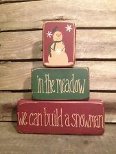 Country Primitive Stacking Block In The Meadow Sign Handmade Home Decor