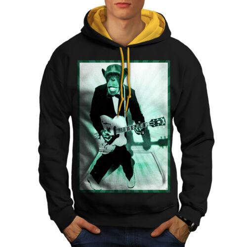 Men con Felpa uomo cappuccio Black Mokey cappuccio da New Guitar oro Funny A0qwAH7