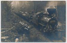 RPPC Logging Log Train Railroad Locomotive Shelton Simpson RR Co WA Real Photo
