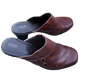 Clarks-Bendables-Women-039-s-Size-9M-Brown-Slip-On-Mules-Clogs-Shoes-Low-Heel