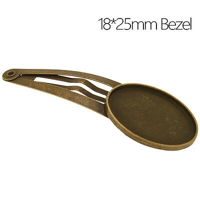 18*25MM Oval Bezel Bobby Hair Pin Clip Barrette Blanks Hairpin Findings 20Pcs