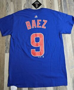 New-Javier-Baez-9-Chicago-Cubs-Majestic-Men-039-s-Royal-Blue-T-Shirt-Sz-SMALL-Tee