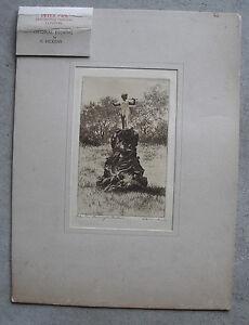Late-1800s-Original-Charles-Dickens-Signed-Etching-Peter-Pan-Kensington-Garden