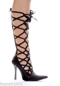 Black-Satin-Pumps-Knee-High-Lace-Up-Detail-4-034-Heels-Ellie-Shoes-407-Wicked-7-M