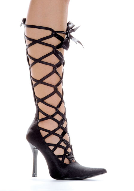 "Black Satin Pumps Knee High Lace Up Detail 4"" Heels Ellie Shoes 407-Wicked 7 M"