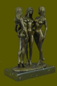Lost-Wax-Method-3-Lesbian-Lady-Goddesses-100-Pure-Bronze-Sculpture-Figurine-Art