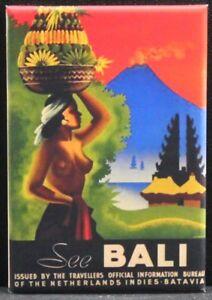 Bali Vintage Travel Poster 2 X 3 Fridge Magnet Indonesia Unique
