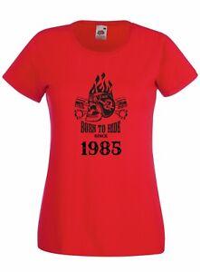 T-shirt-Maglietta-donna-J2255-Fast-Motor-and-Skull-Born-To-Ride-Since-1985