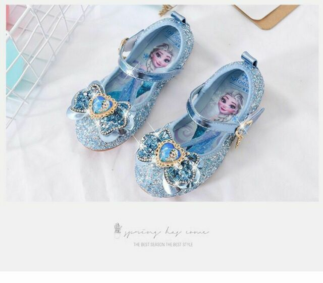 Kids Girls Froze22 Princess Elsa Party Sequin Rhinestone Bow Flat princess shoes