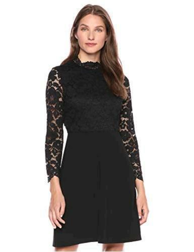 Size 12.0 Brand Black Lark /& Ro Women/'s Long Sleeve Mixed Lace Dress,