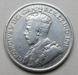 Neufundland-New-Foundland-Kanada-George-V-25-Cents-1917-Silber