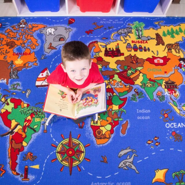 The Rug House Educational Fun Colourful World Map Countries & Oceans ...