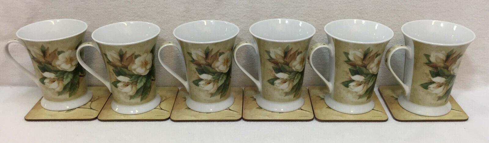 Pimpernel Tasse à Café & Dessous De Verre Lot de 12 sucre Magnolia Fleur porcelaine anciens