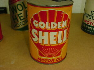 NICE ~ early 1940's era GOLDEN SHELL MOTOR OIL Old Soldered Seam Tin 1 qt. Can