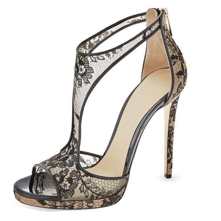 femmes sexy strap party high heels noir open toe stilettos pumps dress chaussures