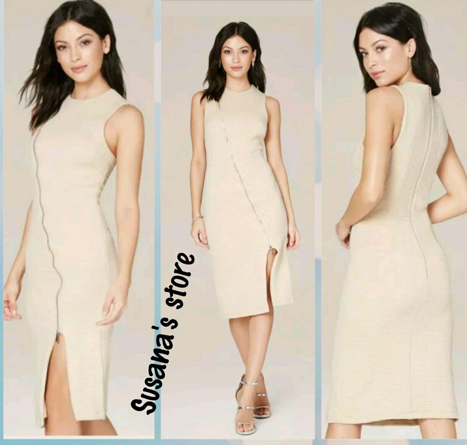 NWT BEBE REBECCA TEXTURED ZIP DRESS SIZE XS Career-move midi dress in a geo-text