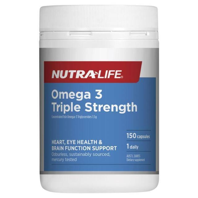 Nutra-Life Omega 3 Triple Strength Odourless Fish Oil 150 Capsules NutraLife
