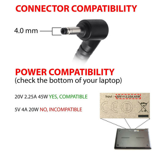 For Lenovo Chromebook N22 N23 Laptop 20V 2.25A 45W Power AC Adapter Charger