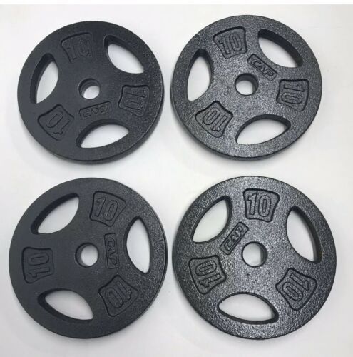 """10 lb Set 4 Standard Barbell Weight Plates 40 Pound Total 1"""" Inch CAP Ships Fast"""