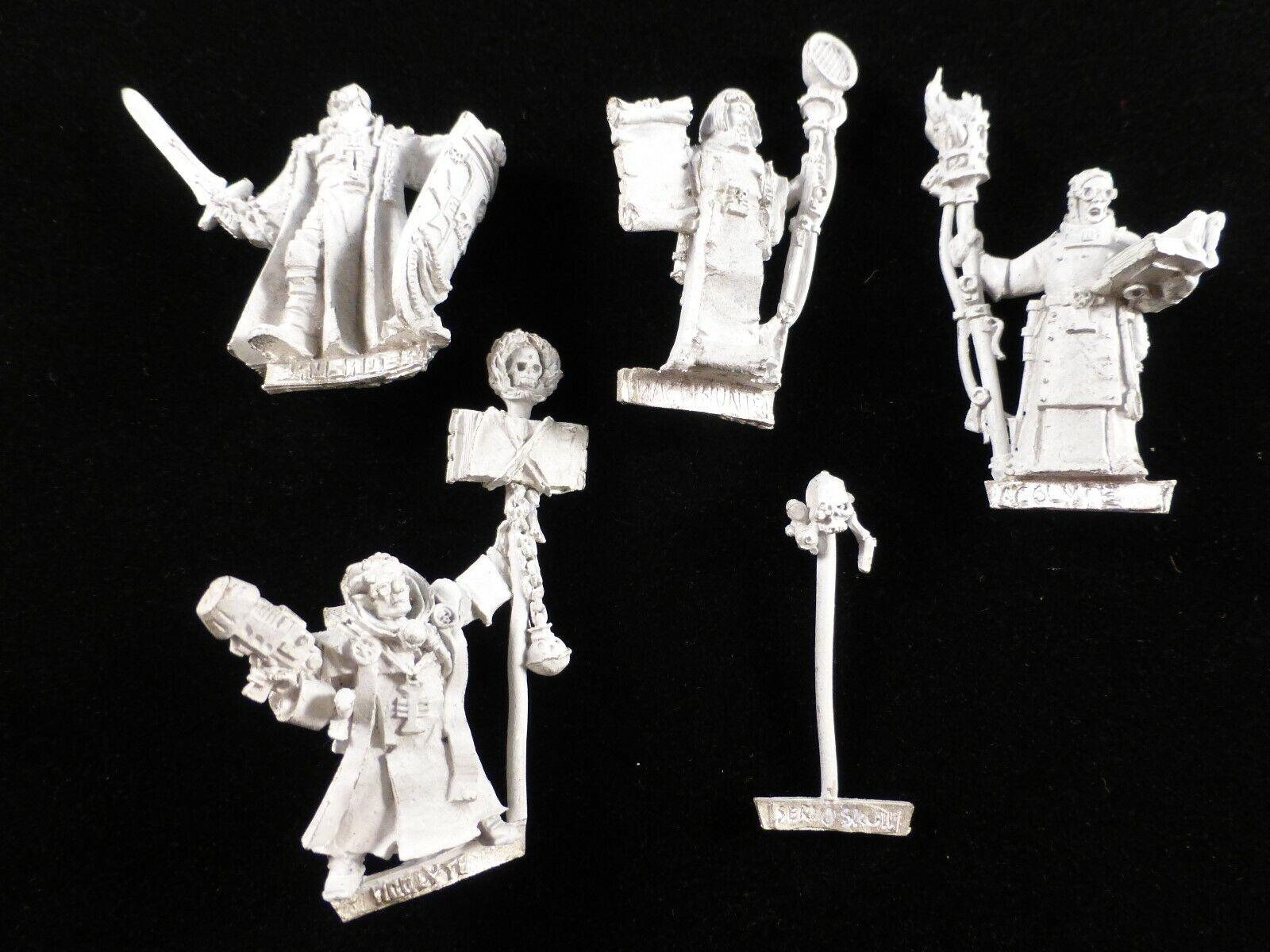40K Metal inquisidor séquito  Acolyte x2, Crusader, Dialogus, Servo cráneo (5)