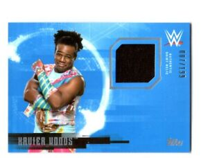 WWE-Xavier-Woods-2017-Topps-Undisputed-Event-Worn-Shirt-Relic-Card-SN-7-of-199