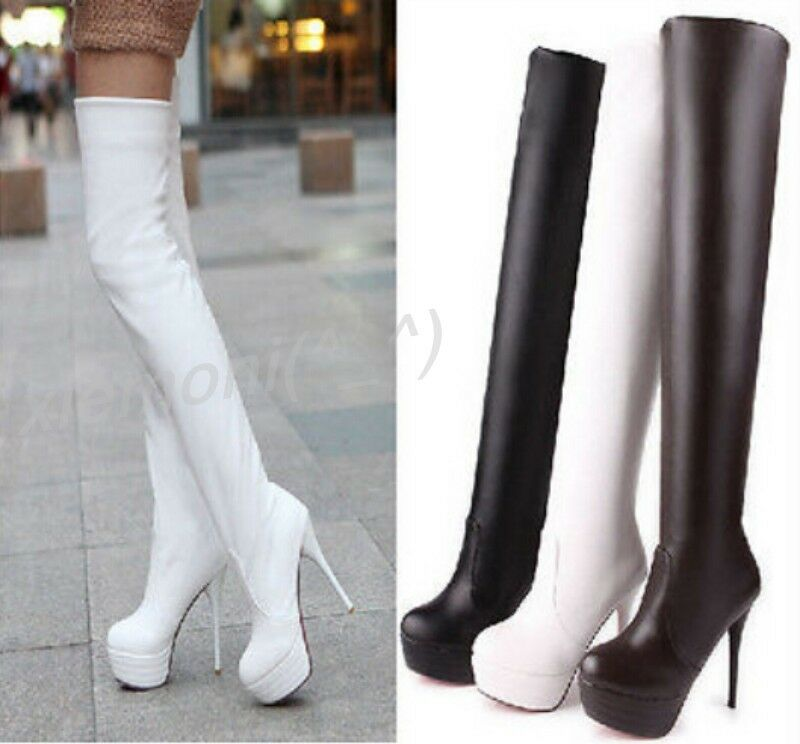 Women Sexy Pull On High Heels Pull on Thigh Platform Over Knee Boots shoes Plus