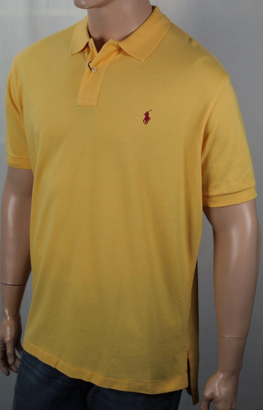 Polo Ralph Lauren Yellow Classic Fit Mesh Shirt Red Pony NWT