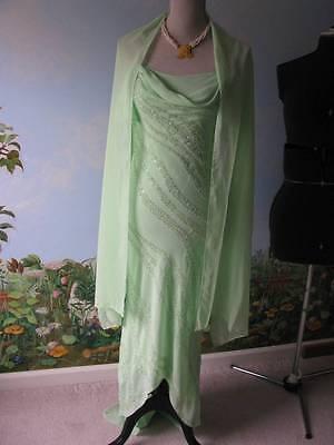 B'Dazzle Women Green Trailing Chiffon Evening Beaded Dress Size 4