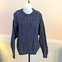 Arancrafts Irish100% Merino Wool Navy Chunk Knit Sweater Small