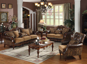 Formal-Bonded-Leather-3pc-Sofa-Set-Chenille-Sofa-Loveseat-amp-Chair-Traditional