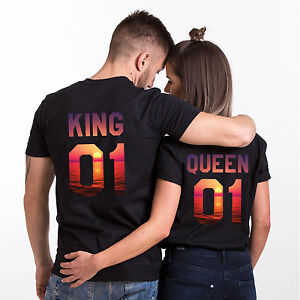 3dbbed7a68 King and Queen T-Shirts Summer Beach Design Matching Couple Tees ...