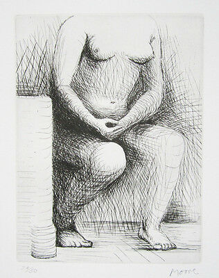 """HENRY MOORE Signed 1979 Original Etching - """"Seated Figure"""""""