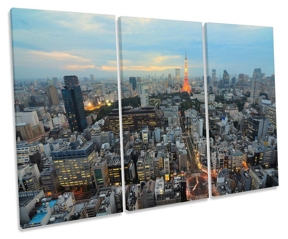 Tokyo Tower Japan CANVAS WALL ART TREBLE Box Frame Print