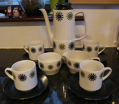 "1950's 60's British Anchor Retro Kitsch 11 Piece Coffee Set ""Cameo"" Design"