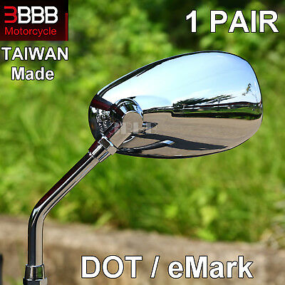 Universal Chrome E-Marked Motorcycle Scooter 10mm Mirrors Pair