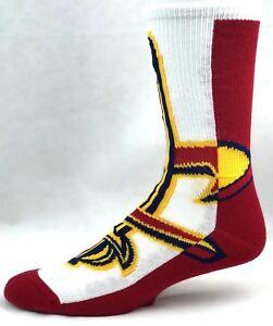 Cleveland Cavaliers Basketball Half & Half Red & White Logo Crew Socks