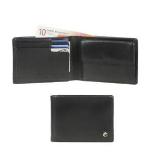 Esquire kleine Geldbörse Herren schwarz Leder RFID Schutz Portemonnaie 6 Kartenf