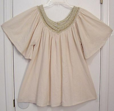 Vintage GREECE Mid Weight COTTON GAUZE Flutter Sleeves FESTIVAL Peasant Top S/M